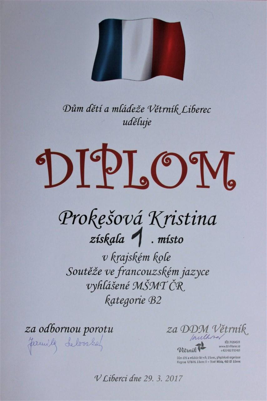 Diplom za 1. místo